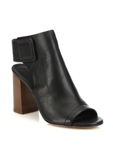 Vince Faye Open-Toe Leather Booties