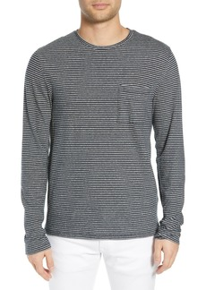Vince Feeder Stripe Long Sleeve Cotton T-Shirt