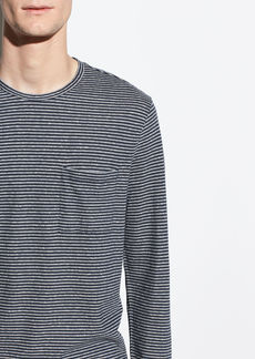 Vince Feeder Stripe Long Sleeve Crew