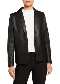 Vince Fitted Leather Blazer