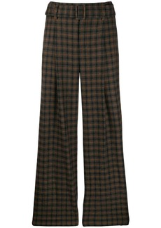 Vince flared check print trousers