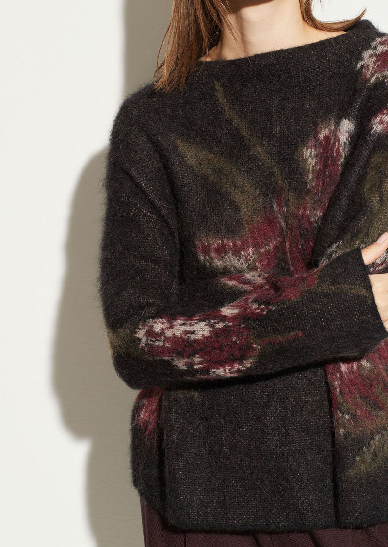 Vince Floral Mohair Funnel Neck Pullover