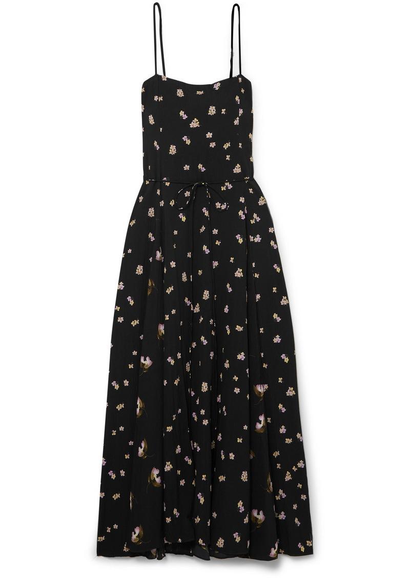 Vince Floral-print Crinkled-crepe Midi Dress