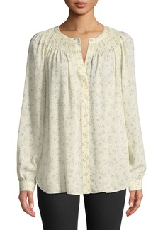 Vince Floral Silk Smocked Blouse