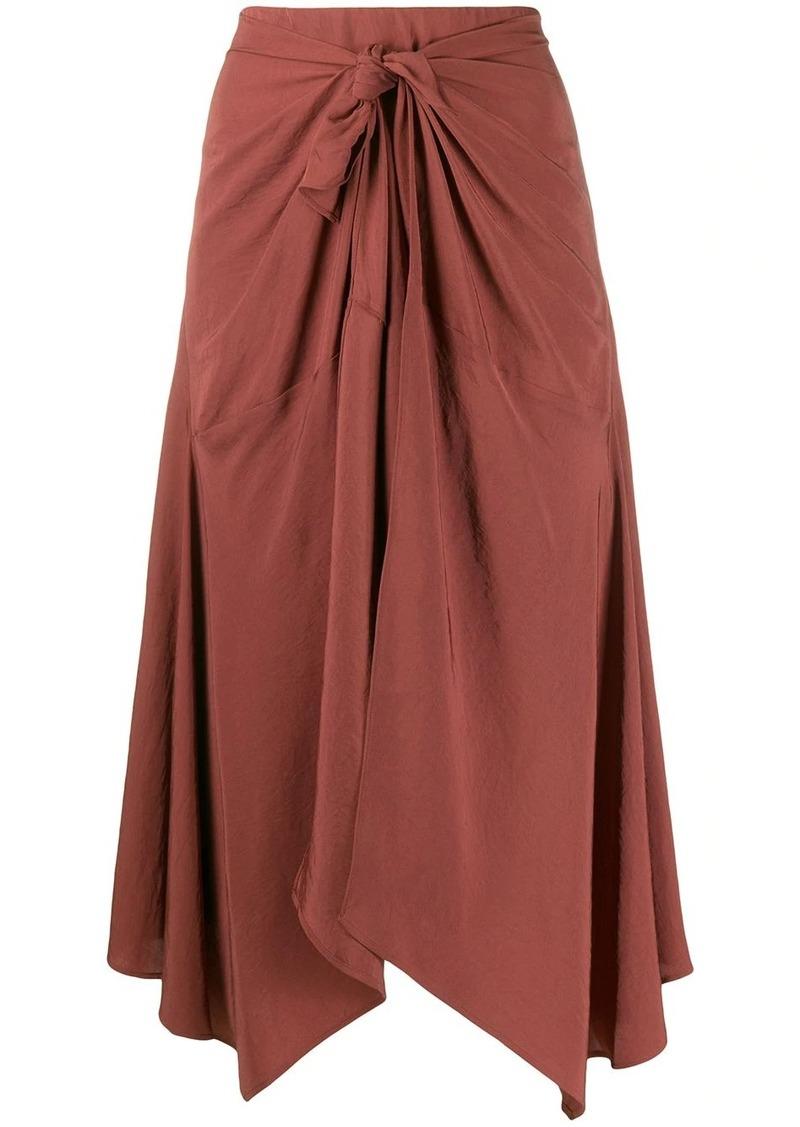 Vince front knot detail asymmetric skirt