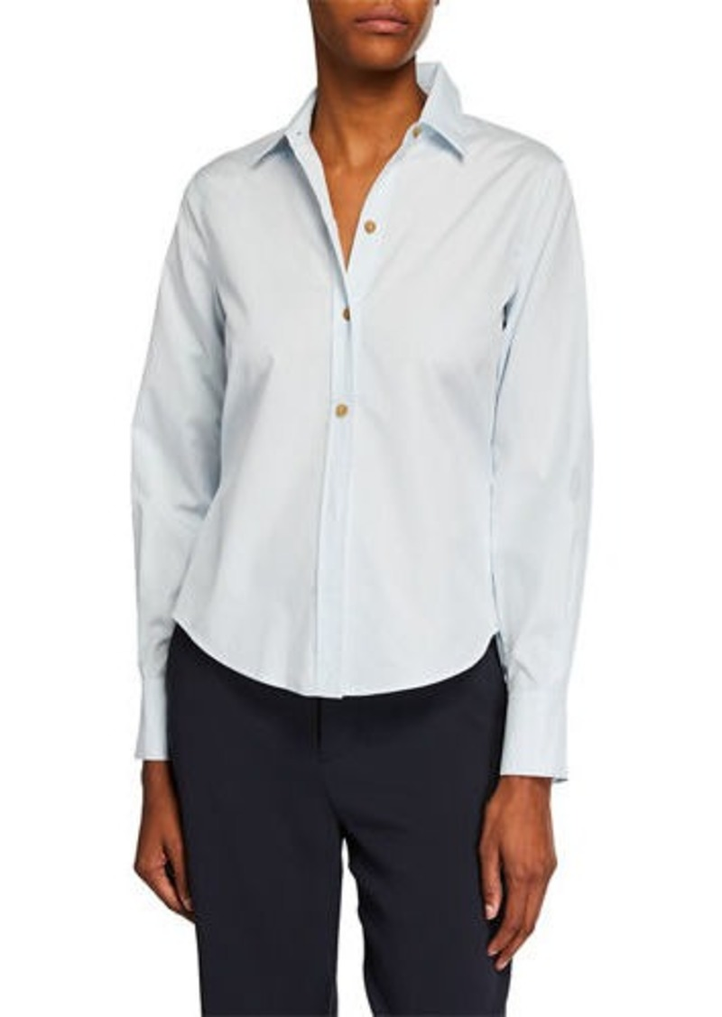 Vince Front-Tie Long-Sleeve Button-Down Top