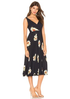 Vince Gardenia Floral Pleated Twist Front Dress