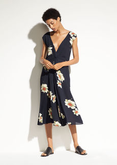 Gardenia Floral Pleated Twist Front Dress