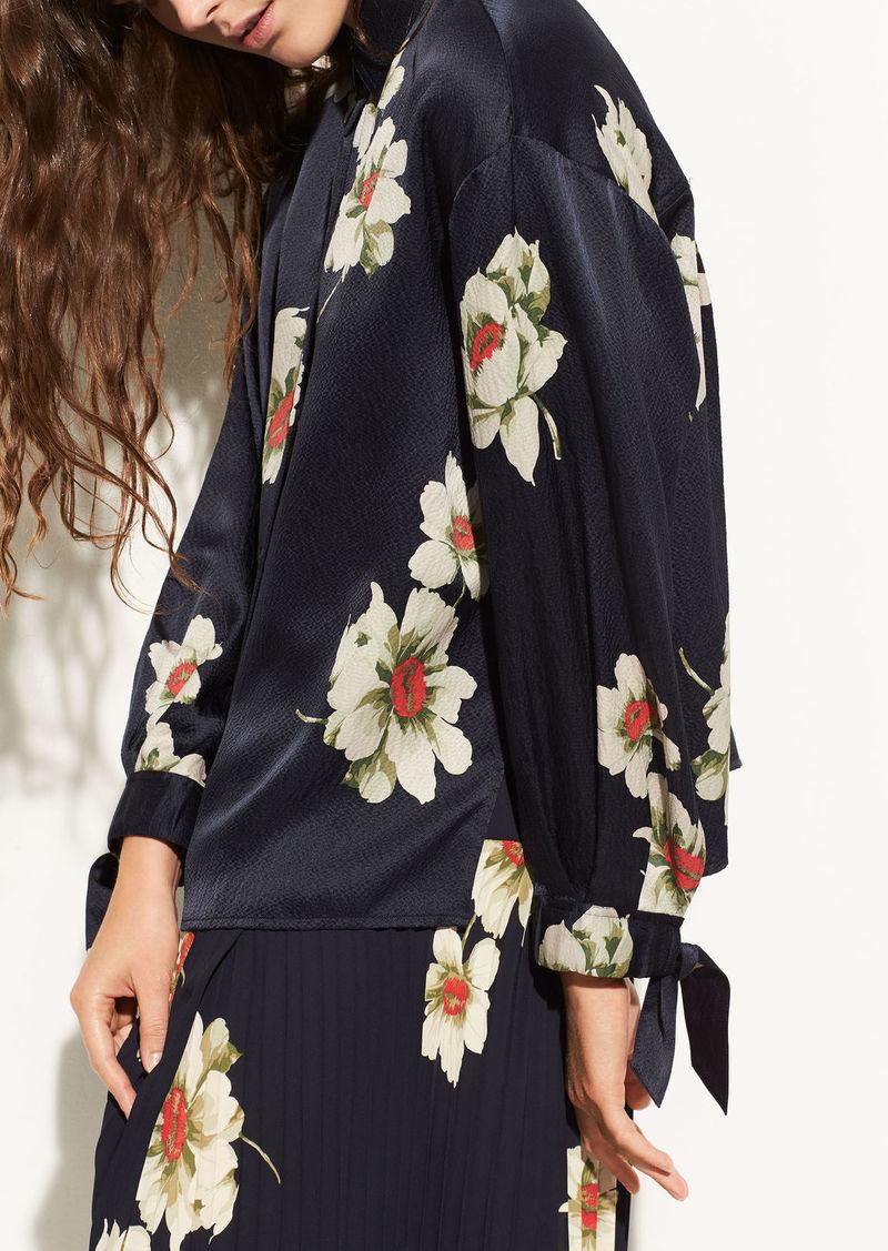 Vince Gardenia Floral Tie-Sleeve Silk Blouse
