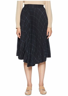 Vince Grid Plaid Drape Pleated Skirt