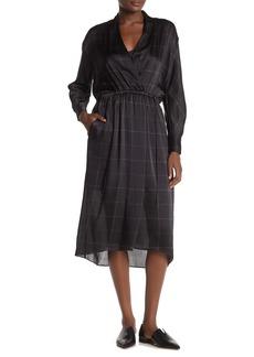 Vince Grid Print Silk Midi Dress