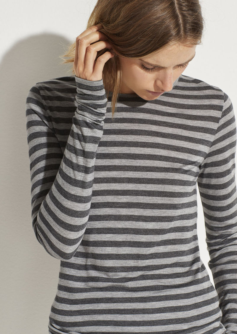 Vince Heather Stripe Long Sleeve Crew