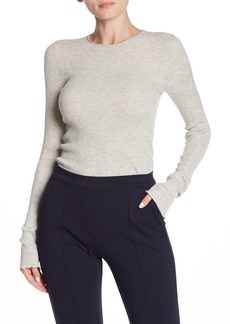 Vince Heathered Long Sleeve Lettuce Edge Top