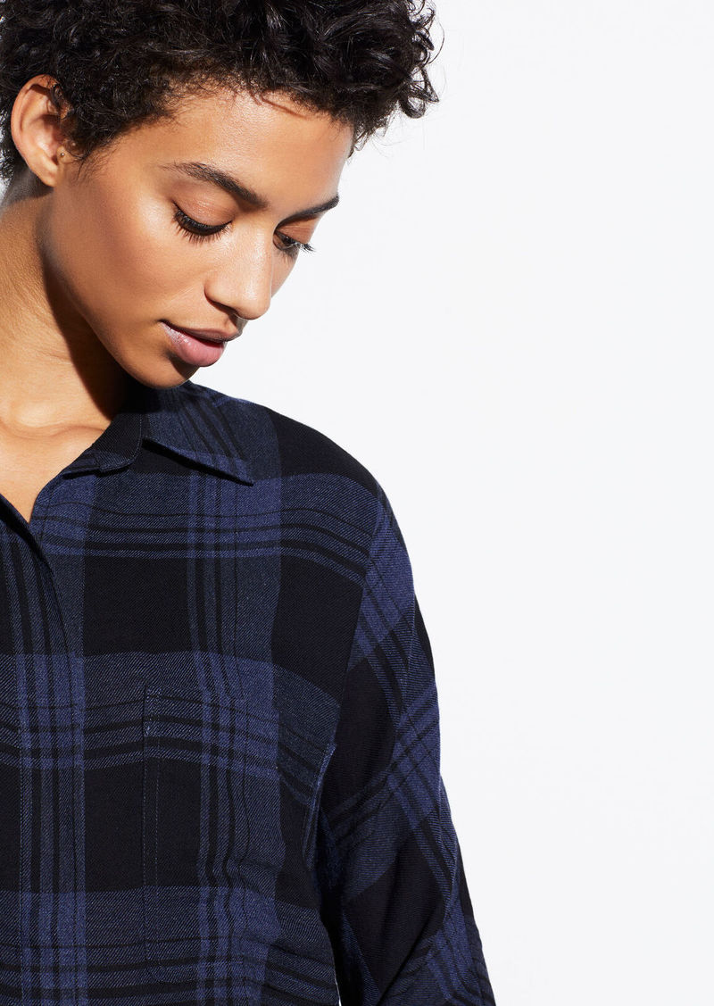 Vince Heathered Plaid Pullover