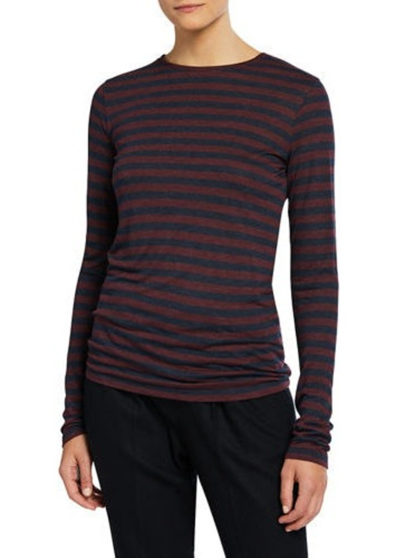 Vince Heathered Striped Crewneck Top