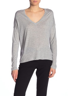 Vince Heathered V-Neck Dolman Long Sleeve T-Shirt