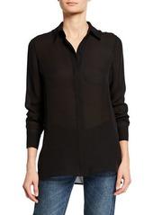 Vince Hidden Placket High-Low Silk Shirt