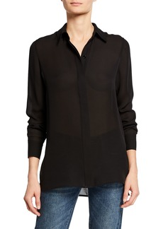 Vince Hidden Placket High-Low Silk Shirt