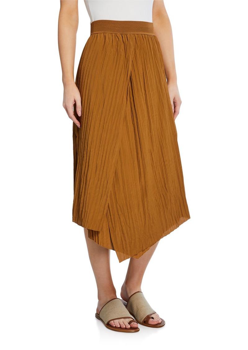 Vince High-Rise Crinkle Pleated Midi Skirt