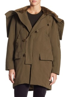 Vince Hooded Faux Fur Hood Military Parka