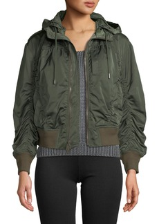 Vince Hooded Zip-Front Bomber Jacket