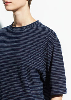 Vince Indigo Stripe Wide Sleeve Crop Tee