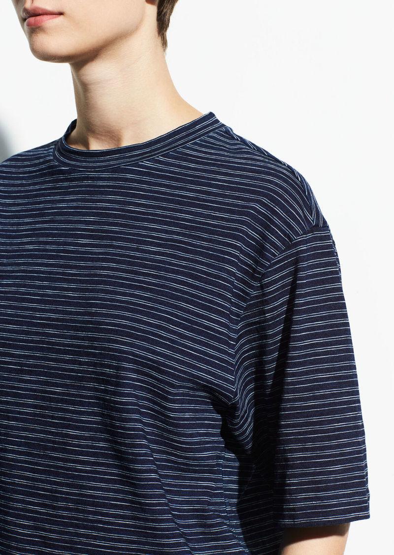 Vince Indigo Stripe Wide Sleeve Crop Tee