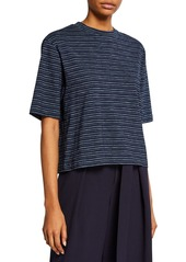 Vince Indigo-Striped Crewneck Wide-Sleeve Cropped Tee