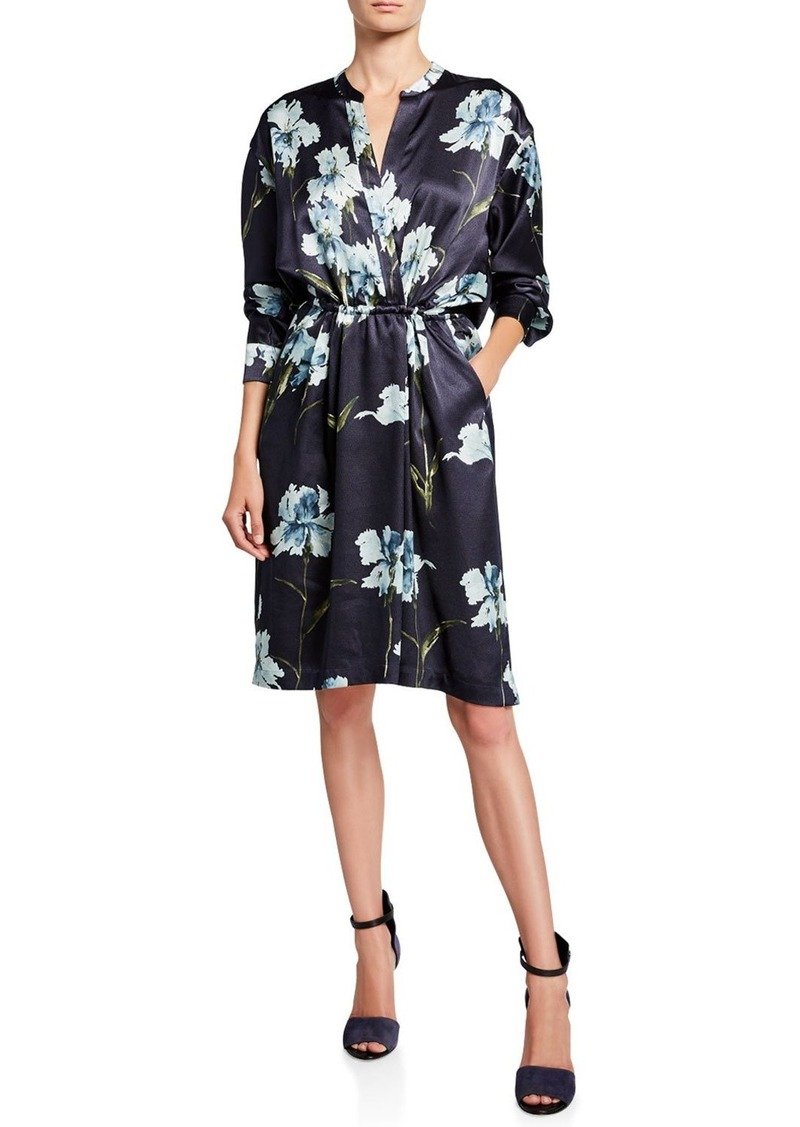 Vince Iris-Print Long-Sleeve Satin Dress