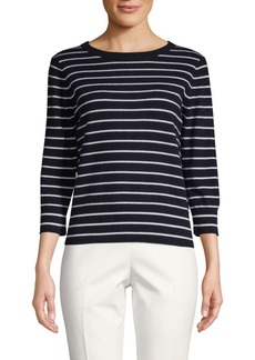 Vince Keyhole-Back Striped Cashmere Sweater