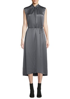 Vince Knot-Front Sleeveless Silk Midi Dress