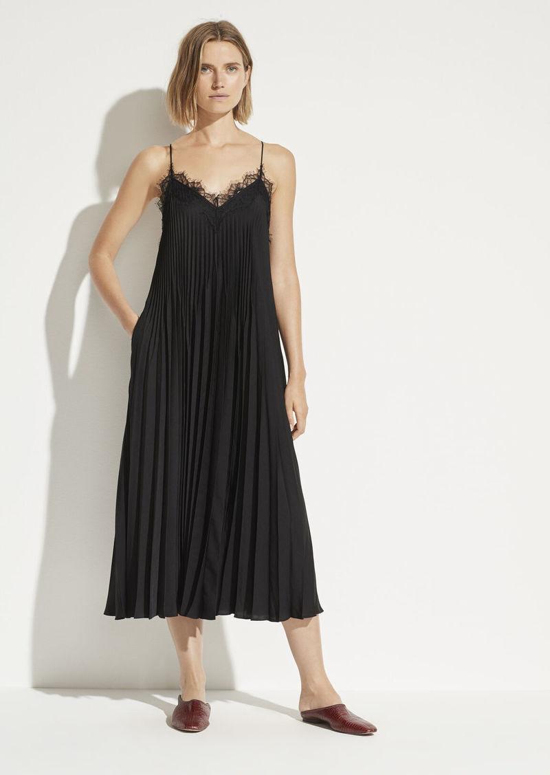 Vince Lace Trim Pleated Dress