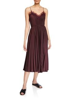 Vince Lace-Trim Pleated V-Neck Dress