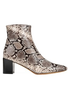 Vince Lanica Python-Embossed Leather Ankle Boots