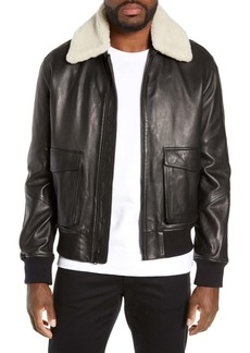 Vince Leather Aviator Jacket with Removable Genuine Shearling Collar