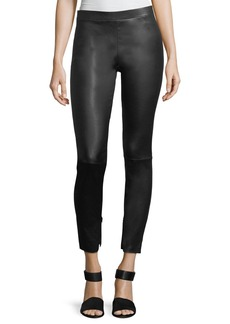 Vince Leather Zip-Cuffs Ankle Leggings