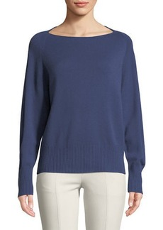 Vince Lightweight Boat-Neck Pullover Sweater