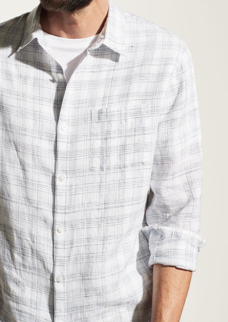Vince Linen Crosshatch Long Sleeve