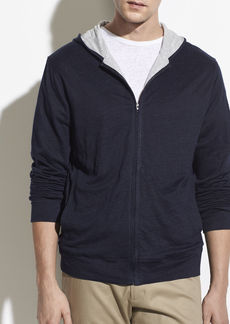 Vince Linen Double Layer Full Zip Hoodie