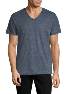 Vince Linen Feeder Stripe V-Neck Tee