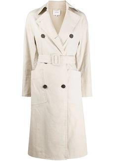 Vince linen side slit trench coat