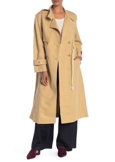 Vince Long Linen-Blend Trench Coat
