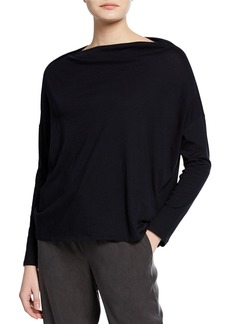 Vince Long-Sleeve Boat-Neck Cotton Pullover Top