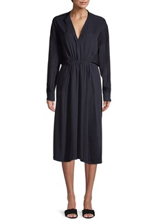 Vince Long Sleeve Cinched Dress