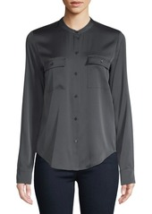 Vince Long-Sleeve Curved Hem Button-Down Shirt
