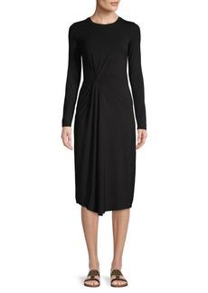 Vince Long-Sleeve Drape Sheath Dress