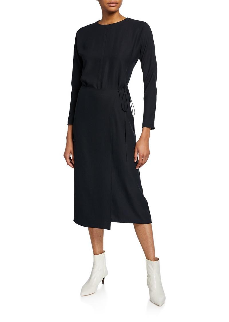 Vince Long-Sleeve Draped Button-Back Dress