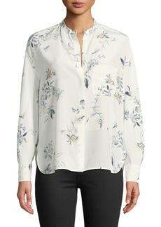 Vince Long-Sleeve Floral Pocket Blouse