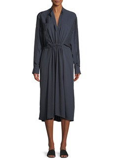 Vince Long-Sleeve Mixed-Media Midi Dress