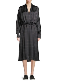 Vince Long-Sleeve Plaid Midi Dress